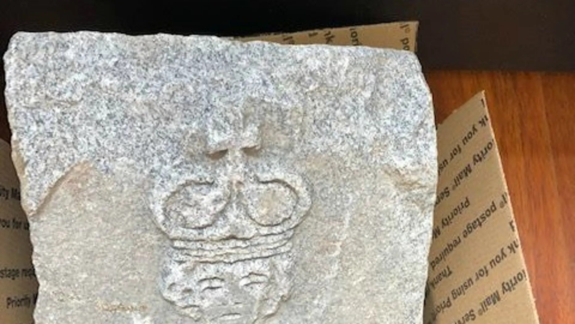 New Jersey workers found a carved stone in Bloomingdale's Sloan Park underneath the Pequannock River on Oct. 18.
