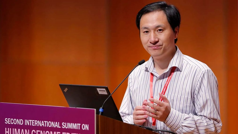 He Jiankui, a Chinese researcher, speaks during the Human Genome Editing Conference in Hong Kong, Wednesday, Nov. 28, 2018. (AP Photo/Kin Cheung)