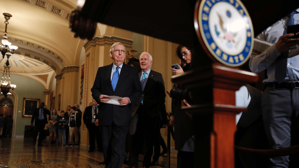 Senate Majority Leader Mitch McConnell of Ky., arrives with Senate Majority Whip Sen. John Cornyn, R-Texas, to speak to the media after a Republican policy luncheon, Tuesday, Nov. 27, 2018, on Capitol Hill in Washington. (AP Photo/Jacquelyn Martin)