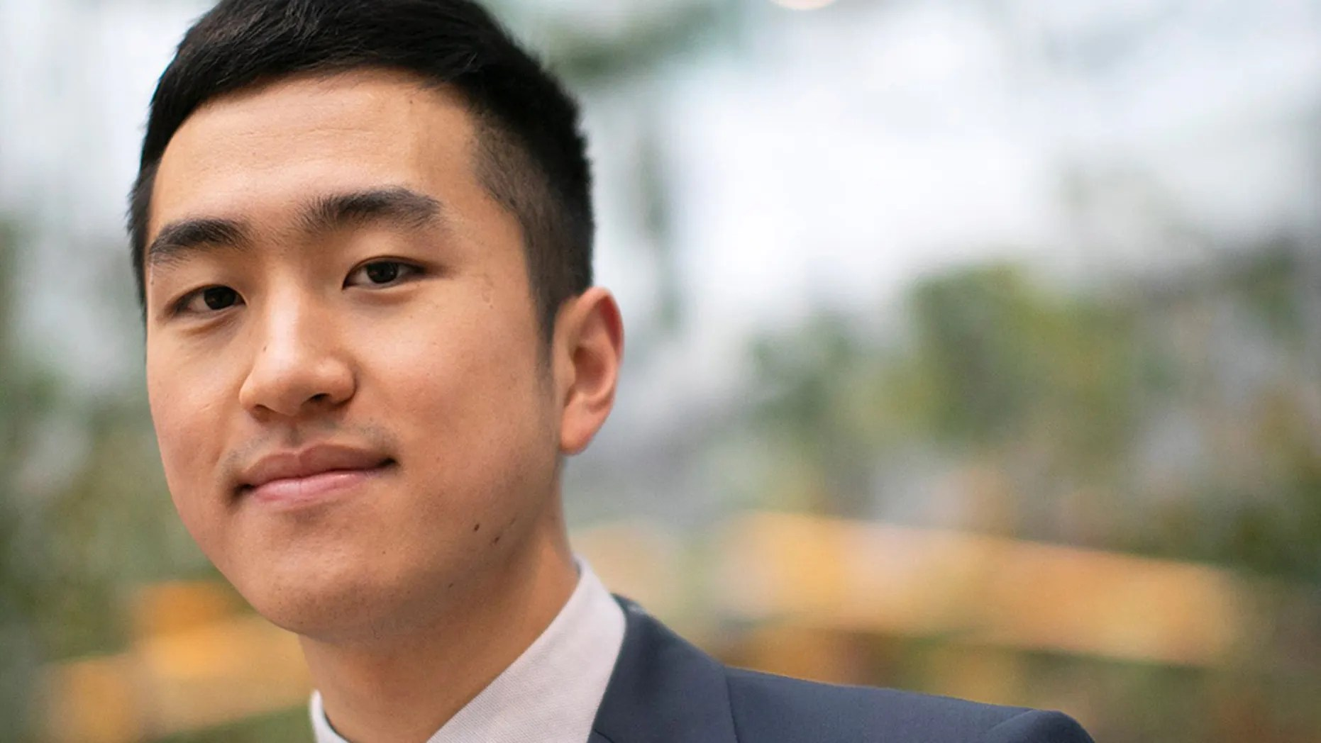Jin Park has been awarded a Rhodes Scholarship. He is pictured in the Smith Campus Center at Harvard University.