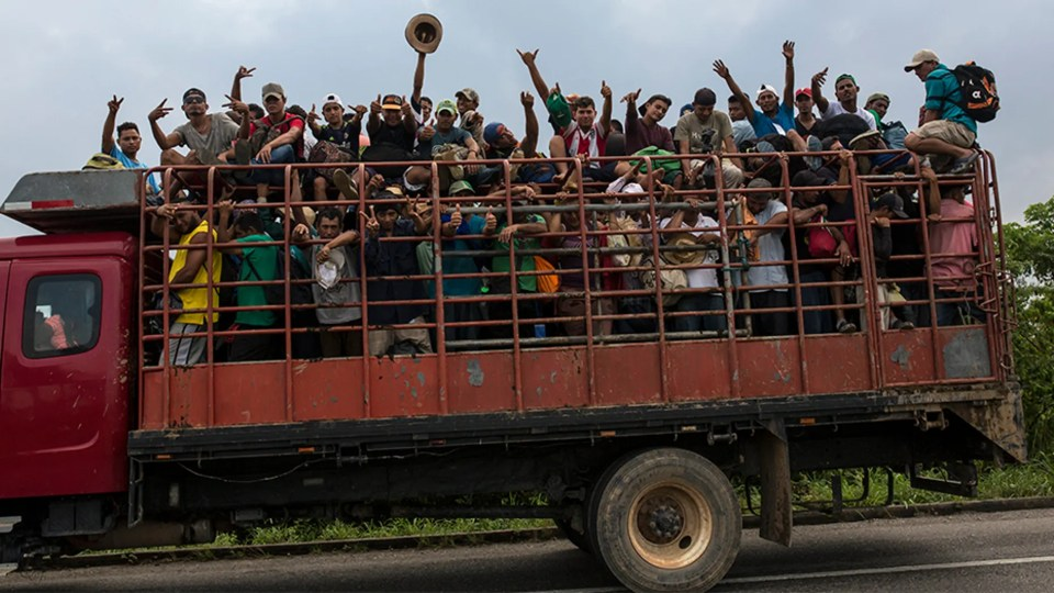 Members of one of the migrant caravans riding on a truck in Donaji, Mexico, last week.