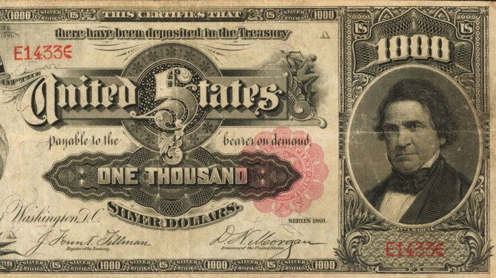 The front of the 1891 $1,000 Silver Certificate