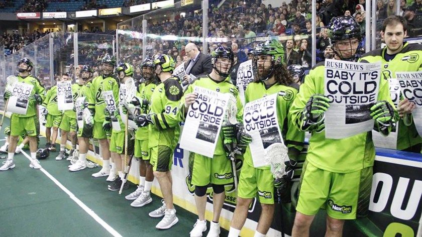 The Saskatchewan Rush sing 'Baby, It's Cold Outside' during halftime of their game against the Calgary Roughnecks.