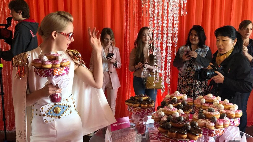 Dunkin' decked out a wedding chapel in las Vegas Wednesday afternoon to offer coffee lovers the chance to get married surrounded by their favorite treats -- and a doughnut bouquet.
