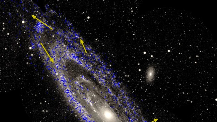 A view of the Andromeda galaxy, also known as M31, with measurements of the motions of stars within the galaxy. This spiral galaxy is the nearest large neighbor of our Milky Way.