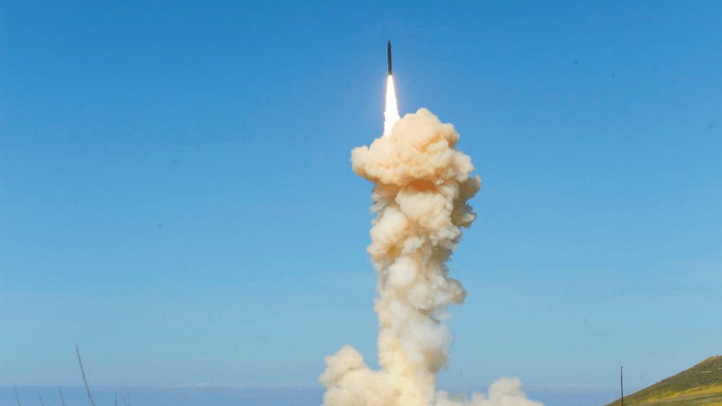 """In this photo provided by the Missile Defense Agency, the lead ground-based Interceptor is launched from Vandenberg Air Force Base, Calif., in a """"salvo"""" engagement test of an unarmed missile target Monday, March 25, 2019. In the first test of its kind, the Pentagon on Monday carried out the """"salvo"""" intercept of an unarmed missile soaring over the Pacific, using two interceptor missiles launched from underground silos in southern California. (Missile Defense Agency via AP)"""
