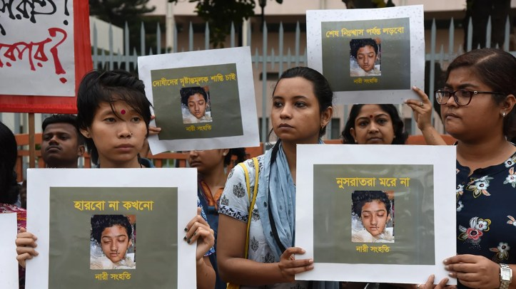 A protest rally against the murder of Nusrat Jahan Rafi, a madrasa girl from Feni who was burned after sexual abuse charges against the principal, in Dhaka, Bangladesh, last week. (Mamunur Rashid/NurPhoto via Getty Images)