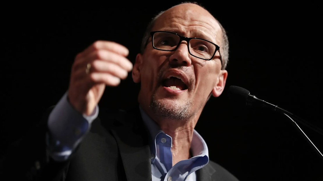 """DNC Chair Tom Perez said Republican lawmakers like Paul Ryan and Mitch McConnell who have supported President Trump are """"cowards"""" who will be """"judged harshly"""" by history"""