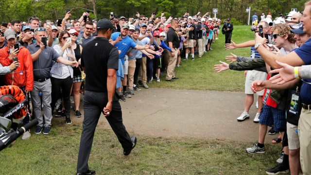 Tiger Woods walks to the eighth tee during the second round of the PGA Championship golf tournament, Friday, May 17, 2019, at Bethpage Black in Farmingdale, N.Y. (AP Photo/Julio Cortez)