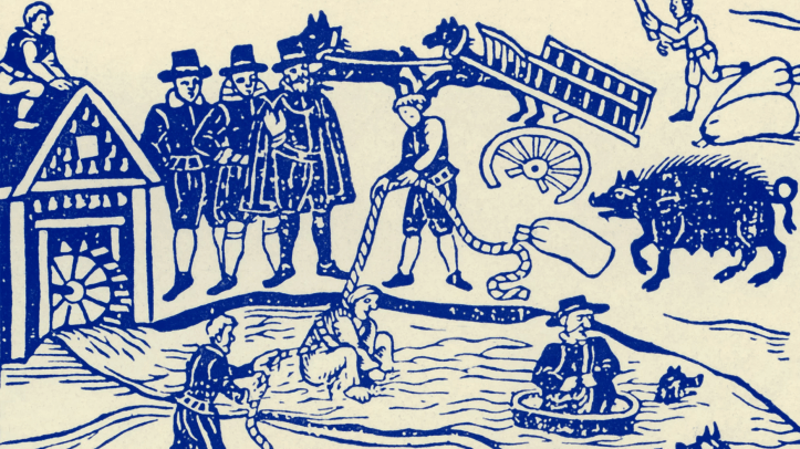 Witch trials in England included tests such as lowering the accused into water. Credit: Culture Club/Getty