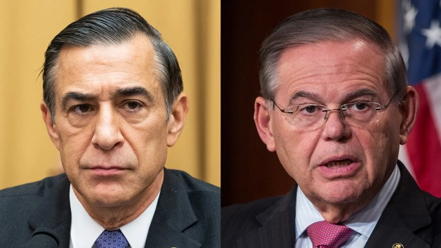 Former Rep. Darrell Issa, R-Calif., left, has had his Senate confirmation hearing delayed after Senate Foreign Relations Committee Ranking Member Bob Menendez, D-N.J., right, called for a review of his FBI background check file.