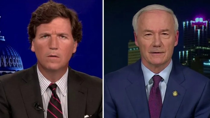 Tucker questions Arkansas governor how deeply he has studied youth gender reassignment