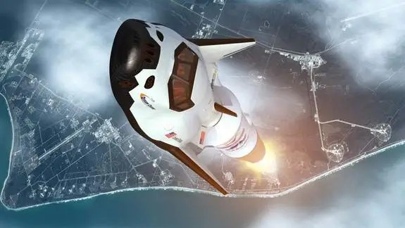An artistic rendition of the Dream Chaser vehicle launching into space. (Sierra Nevada)