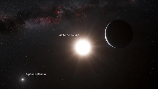 This artist's concept shows the newfound alien planet Alpha Centauri Bb, found in a three-star system just 4.3 light-years from Earth. (ESO/L. Calçada)