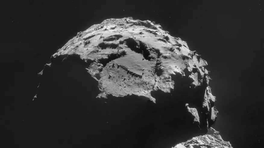 The Rosetta mission's view of Comet 67P/Churyumov-Gerasimenko on Nov. 6, 2014. Rosetta's Philae lander will attempt to land on the comet on Nov. 12, 2014. (ESA/Rosetta/NAVCAM, CC BY-SA IGO 3.0)