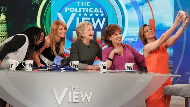 """THE VIEW - ABC's """"The View"""" welcomes presidential candidate Secretary Hillary Clinton in studio on TUESDAY, APRIL 5 (11:00 a.m. - 12:00 p.m. EST), the morning of the Wisconsin primary.  The former Secretary of State and Democratic front-runner joins the co-hosts at the Hot Topics table for the first time this election season. """"The View"""" airs Monday-Friday (11:00 am-12:00 pm, ET) on the ABC Television Network.     (ABC/Lou Rocco) WHOOPI GOLDBERG, CANDACE CAMERON BURE, HILLARY CLINTON, JOY BEHAR, PAULA FARIS"""