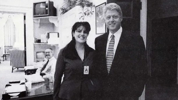 In this Nov. 17, 1995 file photo, President Clinton poses with Monica Lewinsky.