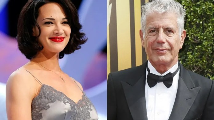 Asia Argento (left) and Anthony Bourdain.