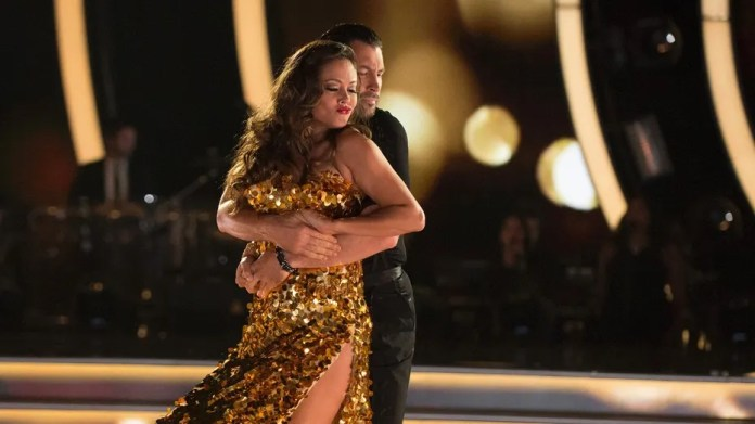 """Vanessa Lachey dances with partner Maks Chmerkovskiy on """"Dancing with the Stars."""""""