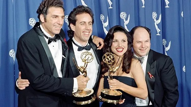 "The cast of the Emmy-winning ""Seinfeld"" show pose with the Emmys they won for Outstanding Comedy Series on September 19, 1993 in Pasadena, CA. From left to right:  Michael Richards, Jerry Seinfeld, Julia Louis-Dreyfus and Jason Alexander. (Photo credit should read SCOTT FLYNN/AFP/Getty Images)"