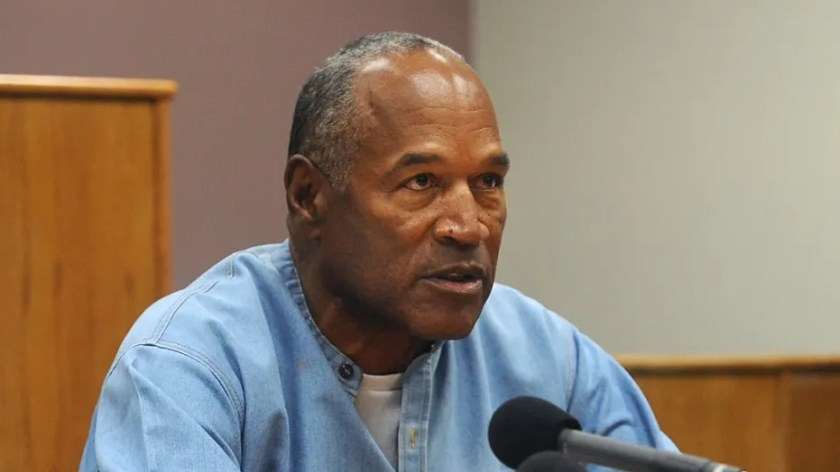 Former NFL football star O.J. Simpson appears via video for a parole hearing in Lovelock, Nev., July 20, 2017.