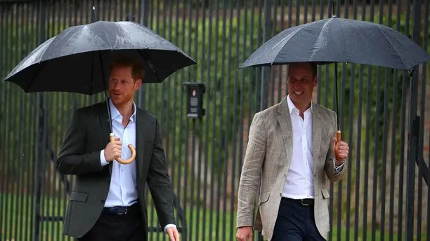 Britain's Prince William, Duke of Cambridge and Prince Harry gesture as they walk to look at flowers and tributes left in memory of the late Princess Diana at the gates of her former residence Kensington Palace in London, Britain, August 30, 2017. REUTERS/Hannah McKay - RC15BC4DC2C0