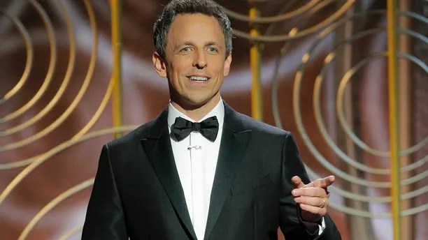 This image released by NBC shows host Seth Meyers at the 75th Annual Golden Globe Awards at the Beverly Hilton Hotel in Beverly Hills, Calif., on Jan. 7, 2018.