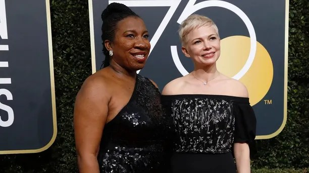 75th Golden Globe Awards – Arrivals – Beverly Hills, California, U.S., 07/01/2018 – Activists Tarana Burke (L) and Michelle Williams. REUTERS/Mario Anzuoni - HP1EE1800SUDG