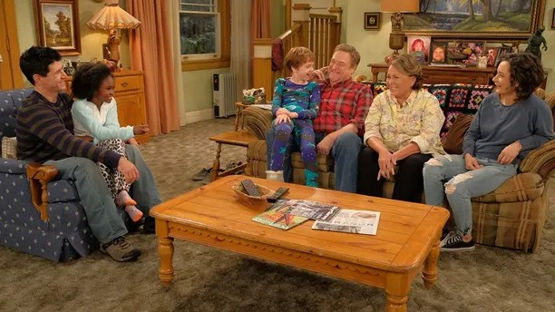 """ROSEANNE - Iconic comedy series """"Roseanne"""" returns to The ABC Television Network on Tuesday, March 27, at 8 p.m. EDT, with nine new episodes featuring the complete original cast - Roseanne Barr, John Goodman, Sara Gilbert, Laurie Metcalf, Michael Fishman and Lecy Goranson. Sarah Chalke, who played the character Becky in later seasons, will also appear in another role. New cast joining the one-of-a-kind Conner family includes Emma Kenney as Harris Conner-Healy, Ames McNamara as Mark Conner-Healy and Jayden Rey as Mary Conner. With fresh stories that tackle today's issues and even more laughs from a brilliant cast and crew that haven't missed a beat, audiences old and new will celebrate the homecoming of America's favorite working-class family. (ABC/Adam Rose) MICHAEL FISHMAN, JAYDEN REY, AMES MCNAMARA, JOHN GOODMAN, ROSEANNE BARR, SARA GILBERT"""