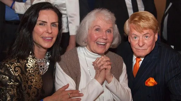 Doris Day makes a surprise appearance at her 90th birthday party in Carmel, California. The screen icon, who was making her first public appearance in two decades, posed for photos with her fans at the event at Carmel's Quail Lodge on April 4, 2014. Doris had not been expected to attend the party - a fundraiser for the Doris Day Animal Foundation - and guests gasped as she entered the room. Peter Marshall compered the event and 175 guests were treated to video highlights of Doris's lengthy career. Mr. Marshall and singer Sue Raney also performed a number of Doris Day songs. The event raised more than $90,000 for Doris's charity, www.dorisdayanimalfoundation.org <P> Pictured: Jeanne Cox LeVett, Doris Day and Denny LeVett <P><B>Ref: SPL735576  090414  </B><BR/> Picture by: 65 Degrees/Manny Espinoza/Splash<BR/> </P><P> <B>Splash News and Pictures</B><BR/> Los Angeles:310-821-2666<BR/> New York:212-619-2666<BR/> London:870-934-2666<BR/> photodesk@splashnews.com<BR/> </P>