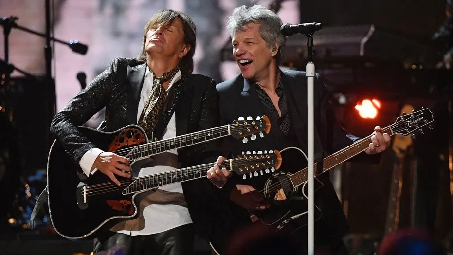 Richie Sambora, left, and Jon Bon Jovi perform during the Rock and Roll Hall of Fame induction ceremony, Saturday, April 14, 2018, in Cleveland.