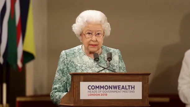 Britain's Queen Elizabeth speaks at the formal opening of the Commonwealth Heads of Government Meeting in the ballroom at Buckingham Palace in London, Britain, April 19, 2018. Yui Mok/Pool via Reuters - RC1401885970
