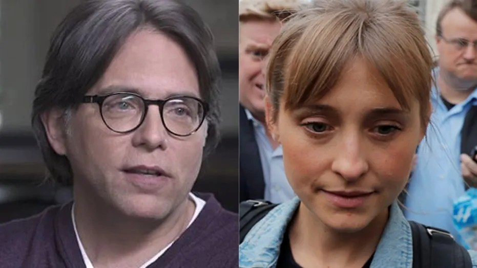 Keith Raniere (L) and Allison Mack (R) have been charged with sex trafficking and conspiracy to commit forced labor.