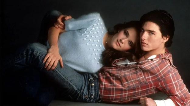 "Lea Thompson with Tom Cruise in 1983's ""All the Right Moves."""