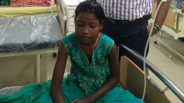 This 10-year-old girl needed surgery after getting a safety pin wedged up her NOSE. See SWNS story SWPIN; Moumita Let was apparently using the clasp to clean her nostrils when it got wedged in an OPEN position inside her sinuses. She was taken to hospital in excruciating pain and doctors had to remove the pin through her mouth under general anaesthetic. The youngster is said to be making a good recovery after the procedure at a state hospital in Suri, West Bengal, India.