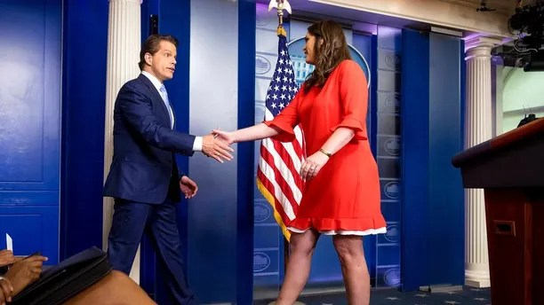 Anthony Scaramucci, incoming White House communications director, shakes hands with the White House press secretary Sarah Huckabee Sanders as he takes the podium at the daily press briefing at the White House, Friday, July 21, 2017, in Washington. White House press secretary Sean Spicer resigned earlier in the day. (AP Photo/Andrew Harnik)
