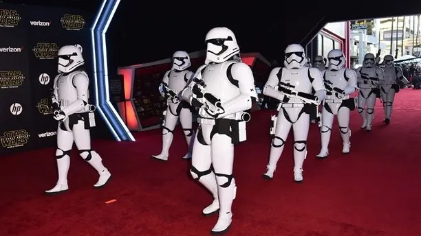 "Dec. 14, 2015: Stormtroopers march on the red carpet at the world premiere of ""Star Wars: The Force Awakens"" at the TCL Chinese Theatre in Los Angeles."