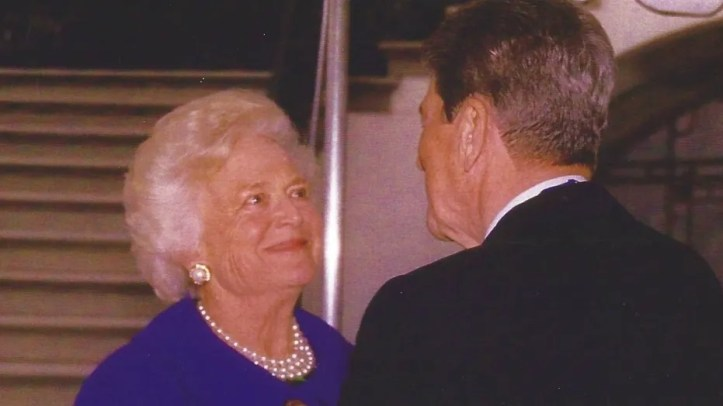 First Lady Barbara Bush with Ronald Reagan outside the White House on the day the former president was awarded the Medal of Freedom, January 13, 1993.