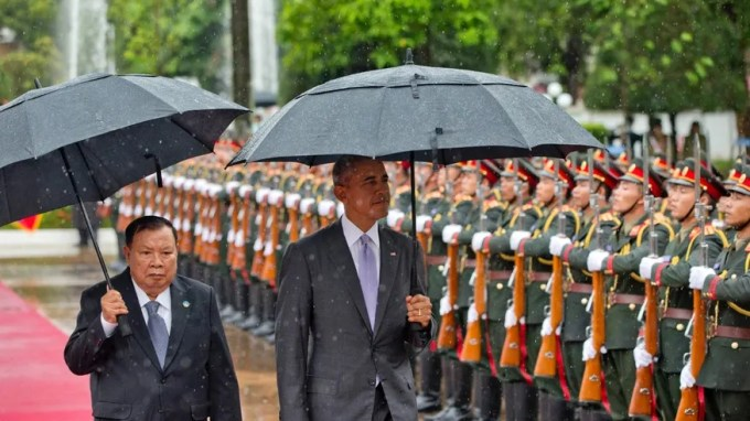 Sept. 6, 2016: Laotian President Bounnhang Vorachit, left and U.S.President Barack Obama inspect a honor guard at the Presidential Palace in Vientiane, Laos.