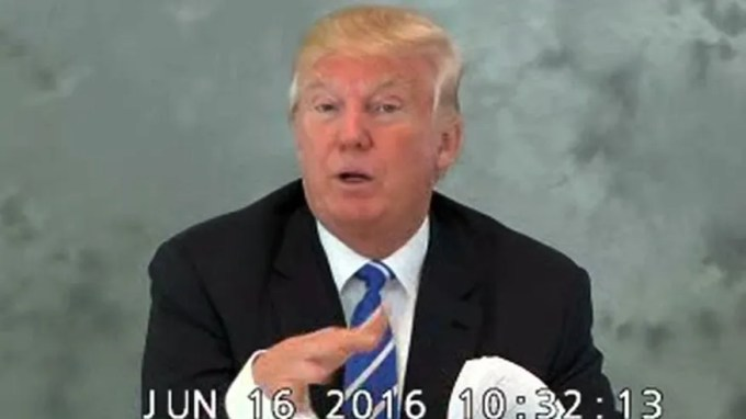 In this image from video provided via CBS News, Donald Trump speaks during a videotaped deposition on June 16, 2016.