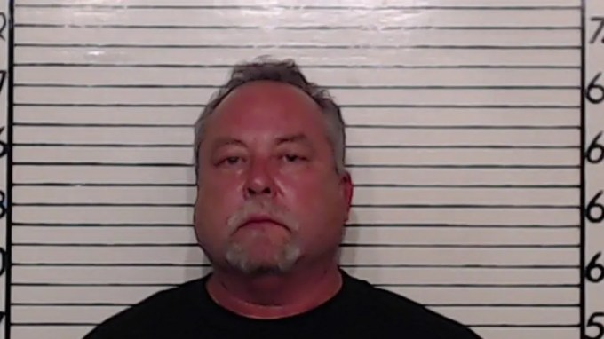 This mugshot shows Brett Mauthe, 55, after his arrest for electioneering.