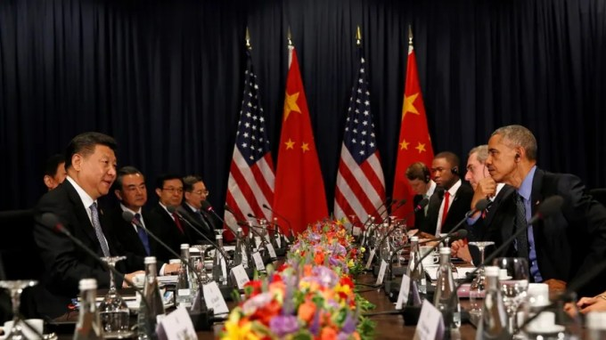 President Barack Obama meets with Chinese President Xi Jinping in Lima, Peru, on Saturday.