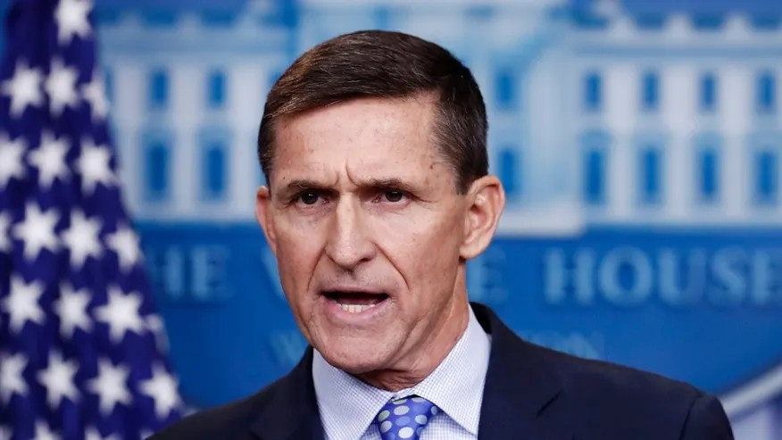 In this Feb. 1, 2017, file photo, then-National Security Adviser Michael Flynn speaks during the daily news briefing at the White House, in Washington.