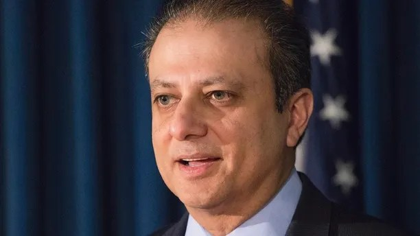 "FILE - In this Dec. 21, 2016 file photo, United States District Attorney Preet Bharara announces chargesin New York, against Navnoor Kang, a former portfolio manager at the New York State Common Retirement Fund, and two broker-dealers, Deborah Kelley and Gregg Schonhorn, for participating in a ""pay-for-play"" scheme.  A person with knowledge of U.S.   Bharara's actions said Saturday, March 11, 2016,  he is not complying with Attorney General Jeff Sessions' request to resign along with other prosecutors appointed by former President Barack Obama.  (AP Photo/Mark Lennihan)"