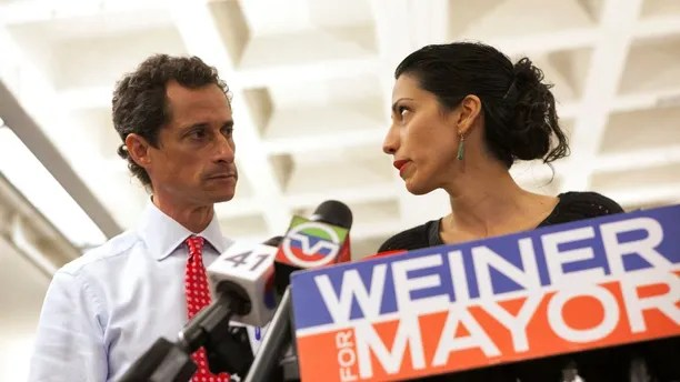 New York mayoral candidate Anthony Weiner and his wife Huma Abedin attend a news conference in New York, July 23, 2013.   REUTERS/Eric Thayer/File Photo     TPX IMAGES OF THE DAY      - RTX2NHP1