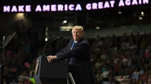 President Donald Trump pauses as he speaks during a rally, Tuesday, July 25, 2017, at the Covelli Centre in Youngstown, Ohio (AP Photo/Carolyn Kaster)