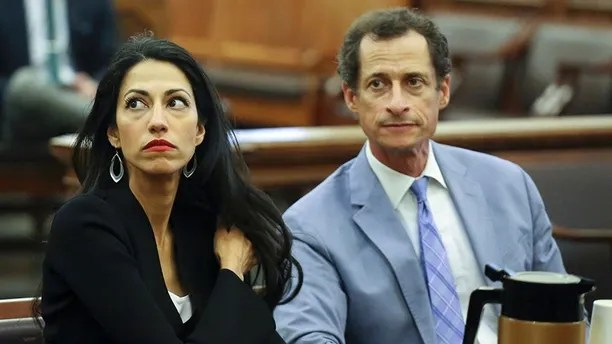 Anthony Weiner, right, and Huma Abedin are seen in court, Wednesday, Sept. 13, 2017 in New York. The couple appeared before a New York City judge to ask for privacy in their divorce case. (Jefferson Siegel/The Daily News via AP, Pool)