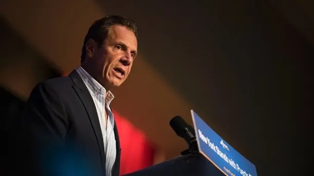 Governor Andrew Cuomo announces new hurricane recovery efforts for Puerto Rico Sunday, Sept. 24, 2017 in New York. The effort include partnering with private and government organizations to get aid to Puerto Rico. (AP Photo/Michael Noble Jr.)