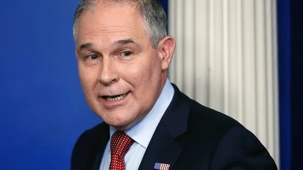 "In this June 2, 2017 file photo, EPA Administrator Scott Pruitt looks back after speaking to the media during the daily briefing in the Brady Press Briefing Room of the White House in Washington.  Pruitt says he'll revive a Bush-era program to maintain an open dialogue with American businesses. Pruitt says the collaboration will boost the economy while delivering ""better environmental outcomes.""  (AP Photo/Pablo Martinez Monsivais)"