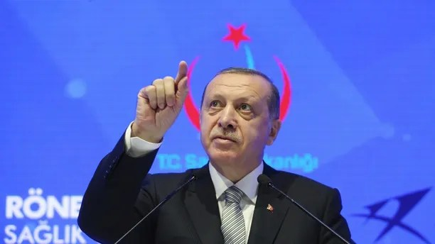 Turkey's President Recep Tayyip Erdogan speaks during a meeting in Istanbul, Friday, July 21, 2017. Erdogan has accused Germany's government of trying to scare off investments to Turkey with lies, after Germany toughened its stance toward Ankara following the arrest of human rights activists, including a German national.(Presidential Press Service/Pool photo via AP)